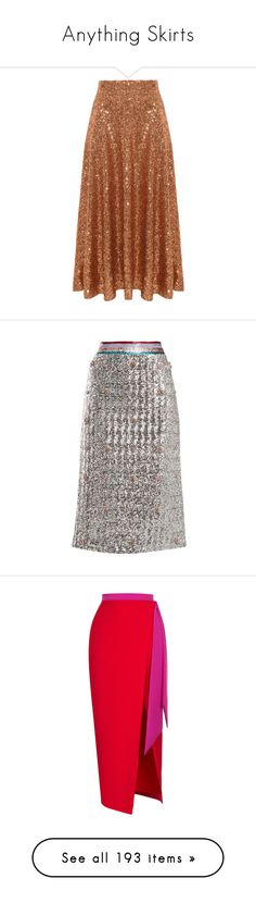 """""""Anything Skirts"""" by amber-the-stylist ❤ liked on Polyvore featuring skirts, brown midi skirt, calf length skirts, high waisted knee length skirt, high-waisted skirt, high-waist skirt, bottoms, silver, midi skirt and multi color skirt"""