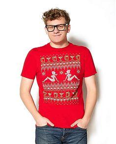 Adult Red Lady Christmas Sweater T Shirt  - Spirithalloween.com