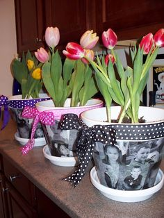 picture pots. Cute easter gift. Could also have kids cut out things that remind them of love, stickers, etc to add also. Modge podge