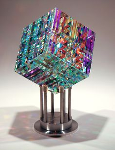 Chroma Cube by Jack Storms….I love Jack Storms' work! Chroma Cube by Jack Storms….I love Jack Storms' work! Broken Glass Art, Sea Glass Art, Stained Glass Art, Fused Glass, Dichroic Glass, Blown Glass, Jack Storms Glass, L'art Du Vitrail, Glass Art Design