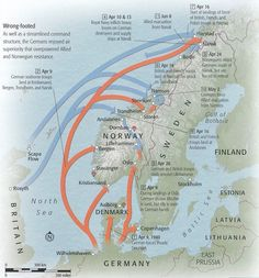 World War II German invasion of Norway and Denmark on April Ww2 History, History Facts, Military History, World History, Family History, Number The Stars, German Army, Historical Maps, Second World