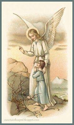Sweet vintage guardian angel holy card