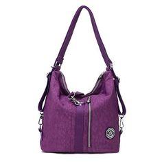 Women Waterproof Nylon Lightweight Mutifunctional Handbag Crossbody Bag Backpack. Very mutifunctional.