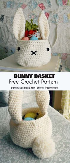 Bunny Basket Free Crochet Pattern Don't put your eggs… actually, put them into only one basket. Especially in the Bunny Basket crochet project. This is a great Easter-themed project with Easter Crochet Patterns, Crochet Basket Pattern, Crochet Patterns For Beginners, Crochet Rabbit, Crochet Toys, Free Crochet, Hand Crochet, Baby Nike, Boyfriend Crafts