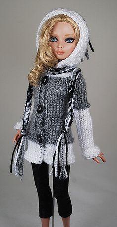 gray2   Flickr - Photo Sharing! Crochet Barbie Patterns, Crochet Doll Dress, Crochet Doll Clothes, Sewing Barbie Clothes, Barbie Clothes Patterns, Clothing Patterns, Barbie Mode, Chunky Knitwear, Baby Cardigan Knitting Pattern