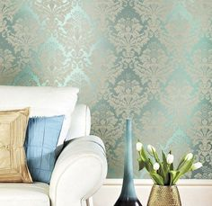 Cyan Army Green Blue Non- woven Damask Wall paper Textured Wallpaper Living Room