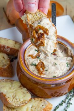 French Onion Soup Dip ~ A Creamy Dip with Sweet Caramelized Onions, and Melted Gruyère Cheese.