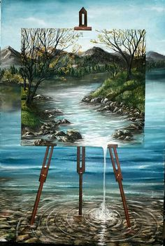 Well, the artistic miniature painting ideas listed in this article are intricate and delicate brushwork which lends them a unique identity, these paintings Surrealism Painting, Acrylic Art, Surreal Art, Beautiful Paintings, Landscape Paintings, Amazing Art, Watercolor Art, Art Drawings, Art Sketches