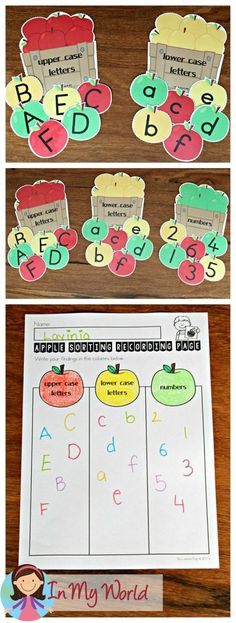 FREE Back to School Literacy Centers for Kindergarten. Sorting apples: lower case, upper case, numbers