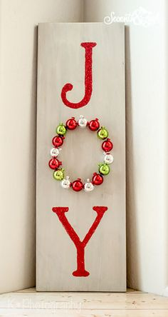 DIY Wooden Joy Sign - I can totally do this. I have the scrap piece of wood and everything! Christmas Signs, Christmas Decorations For Kids, Christmas On A Budget, Christmas Holidays, Diy Christmas Gifts, Christmas Games, Holiday Decorating, Christmas Ideas, Diy Crafts For Kids Easy