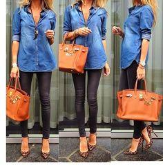 Chambray shirt, leopard heels and skinny fashion