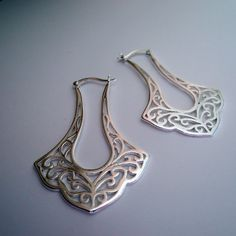 Sterling Silver Filigree Moroccan Style Hinged Hoops, Fligree Hoops, Unique Hoops, Large Hoops on Etsy, $69.99