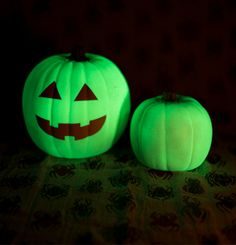 Not just for Halloween. Rustoleum Glow in the Dark paint. Paint on, let dry, expose to light for several hours. It glows up to 2 hours.
