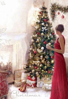 Macneil, Richard Woman w Christmas Tree Merry Little Christmas, Vintage Christmas Cards, Christmas Wishes, Christmas Greetings, Winter Christmas, Christmas Home, Christmas Morning, Illustration Noel, Christmas Illustration