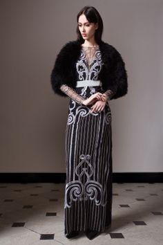 Temperley London Pre Fall 14, Long Catroux Dress, Marabou Feather Shrug