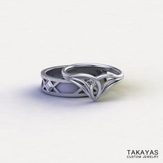Custom 14K white gold and Lord of the Ring inspired Elven ladies ring and Dwarven men's band for Wesley and Sarah