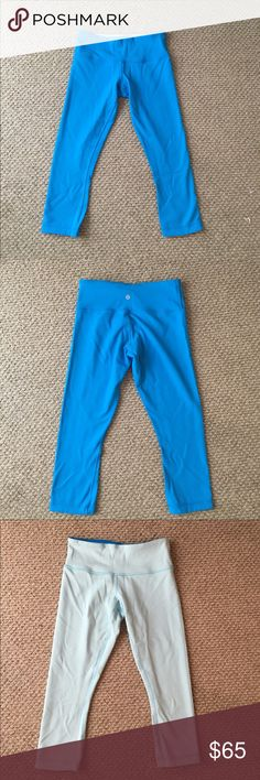 Lululemon Reversible Crop Pants Two shades of blue reversible pants. Only worn once! lululemon athletica Pants Ankle & Cropped