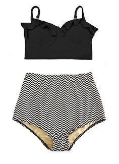 Black Midkini Top and Chevron High Waisted Waist High-waist High-waisted Flattering Swimsuit Swimwear Bikini Bathing suit wear clothing S M
