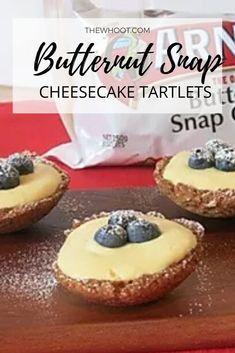 Butternut Snap Cheesecake Tartlets Recipe - The WHOot Lemon Desserts, Lemon Recipes, Milk Recipes, Easy Desserts, Sweet Recipes, Baking Recipes, Delicious Desserts, Dessert Recipes, Bar Recipes
