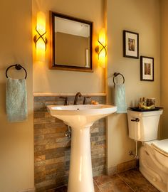 Half bathroom ideas and they're perfect for guests. They don't have to be as functional as the family bathrooms, so hope you enjoy these ideas. Update your bathroom decor quickly with these budget-friendly, charming half bathroom ideas # bathroom Modern Bathrooms Interior, Bathroom Interior Design, Dream Bathrooms, Interior Ideas, Pedestal Sink Bathroom, Pedistal Sink, Bathroom Mirror Makeover, Ideas Baños, Decor Ideas