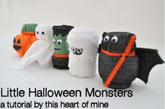 Little Halloween Monsters Tutorial via ThisHeartOfMineBlog.com They used medication bottles (which I don't have) but I think these could be used as an inspiration using TP rolls for kids to craft.