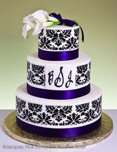 Monogram Damask Cake By Jacques Pastries Pretty Cakes, Beautiful Cakes, Amazing Cakes, Monogram Cake, Monogram Wedding, White Wedding Cakes, Purple Wedding, Cupcakes, Cupcake Cakes