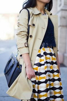 Fast Food Fast Fashion | a personal style blog: Bow Skirt and Khaki Trench (+ Kate Spade New York Abstract Signature Bow Medium Harmony Tote Review)