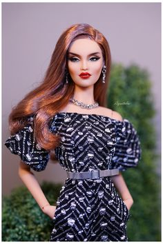 Silvery Night Jumpsuit for Fashion Doll Fashion Royalty Dolls, Fashion Dolls, Fashion Art, Fashion Show, High Fashion, Barbie Gowns, Barbie Clothes, Barbie Funny, Barbie Top
