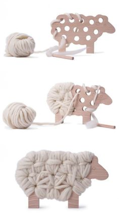 """""""Woody the sheep knitting toy from Mama Shelter - beautiful toy, made in France, and perfect for practicing fine motor skills, patience and creativity."""" #Woodentoys #artsandcraftsforchildren,"""