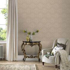 Jacquard Gold/Beige Wallpaper by Graham and Brown