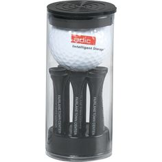 "Tee off your next great marketing campaign with this handsome golf gift! Featuring a golf ball and 8 biodegradable tees in a clear cylinder container, these uniquely packaged sets of custom printed, essential fairway gear are sure to score with any golfing crowd. Makes the perfect gift for Father's Day, executives and other fans of the game. Just customize with a 1"" spot color imprint to hand out at your next convention or tradeshow!"