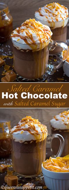 Salted Caramel Hot Chocolate - sweet and salty caramel hot chocolate, topped with sweetened whipped cream, salted caramel sauce and homemade salted caramel sugar! This is the perfect drink for warming up during the cold winter months.