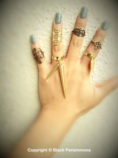 Athena Mid Finger Ring  Antique Gold Plated American by grigio, $14.00
