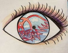 I drew this eye reflection using sharpies, color pencils and crayons for my elementary students as an example. Aerosmith logo <3