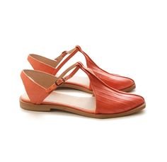 handmade leather t-strap sandals / shoes in a fun orange color