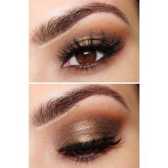 12 Easy Prom Makeup Ideas For Brown Eyes Gurl ❤ liked on Polyvore featuring beauty products, makeup, eye makeup, eyeshadow, eyes and beauty