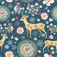 Trama è favoloso fiore cervo — Illustrazione stock #5110038