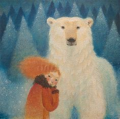 "Limited edition giclée print of original painting by Lucy Campbell - ""Thursday's bear"""