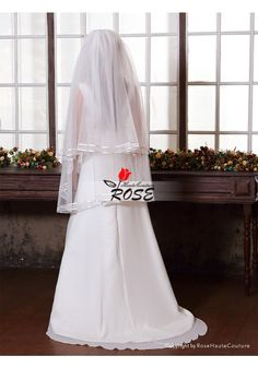 Wedding Veil Two Layer Tulle Bridal Veil Satin Edge With Comb Style BV162 - Wedding Veil