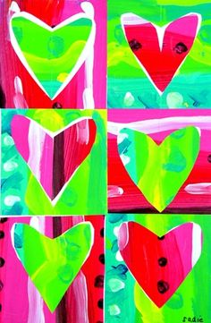 Pop Art Hearts - awesome use of positive and negative space as well as complimentary colors 2nd Grade Art, Kindergarten Art, Preschool, Ecole Art, Valentines Art, Art Lessons Elementary, Arte Pop, Winter Art, Art Lesson Plans