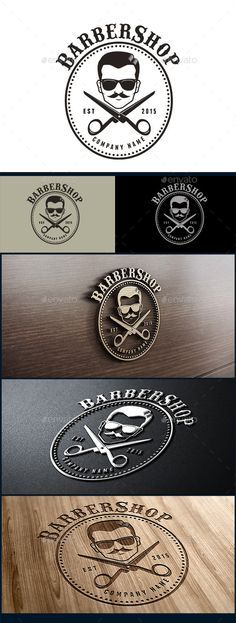 Barbershop Logo — Photoshop PSD #hotrod #70s • Available here → https://graphicriver.net/item/barbershop-logo/10396316?ref=pxcr