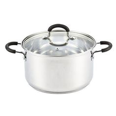 Kitchen Pot Cook N Home Stainless Steel 5 Quart Stockpot Glass Lid Med Silver #CookNHome