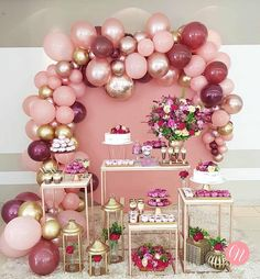 Balloon wall decor and flowering birthday party concept.