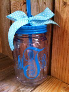 Personalized Monogram mason jar tumbler by southernyankeegirls, $18.00
