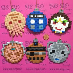 Doctor Who Christmas bauble set Hama perler beads by Zo Zo Tings
