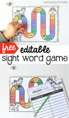 Free editable sight word game! Awesome literacy center, word work activity or sight word game for kindergarten or first grade. (affiliate)