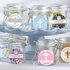 Empty Glass Canister Jar - Fillable Baptism and Christening Favor Container