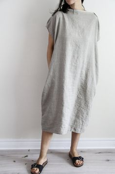Oversize Linen Dress - Natural Flax