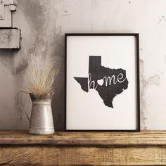 Texas Wall Art Chalkboard Home Printable Poster