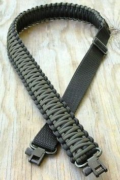 Adjustable Paracord Rifle Gun Sling Strap With Swivels OD Green & Black